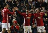 """Rekordinis W.Rooney įvartis įkvėpė """"Man Utd"""" klubą triuškinančiai pergalei"""