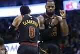 """Sugrįžę """"Thunder"""" lyderiai nepadėjo – L.Jamesas atvedė """"Cavaliers"""" į pergalę"""