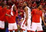 """Dviejų pratęsimų dramą laimėjusi """"Raptors"""" sušvelnino Rytų finalo rezultatą"""