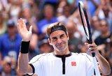 """R.Federeris tęsia įspūdingą žaidimą: nepaliko jokių vilčių D.Goffinui ir žengė į """"US Open"""" ketvirtfinalį (papildyta)"""