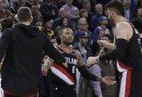 """D.Lillardas paskutinėmis sekundėmis išplėšė pergalę prieš """"Warriors"""""""