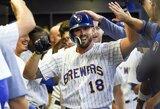 """D.Neverausko pasirodymą prieš """"Brewers"""" apkartino MLB žvaigždės smūgis"""
