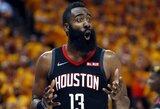 """J.Hardenas pataikė 3 iš 20 metimų, bet """"Rockets"""" laimėjo trečią kartą"""
