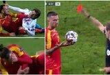 UEFA Tautų lygoje – sudegusio teatro aktorius ir 3 raudonos kortelės per 10 sekundžių