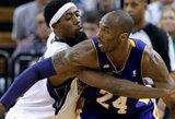 """Principinė dvikova dėl vietos atkrintamosiose: """"Lakers"""" pergalė prieš """"Mavericks"""" ir K.Bryanto trigubas dublis"""