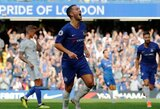 """E.Hazardas pelnė """"hat-tricką"""", o """"Chelsea"""" iškovojo triuškinamą pergalę"""