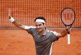 """Po ketverių metų pertraukos """"Roland Garros"""" turnyre pasirodęs R.Federeris startavo pergalingai, E.Gulbis krito pirmajame rate"""