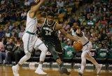 """Žvėriškas G.Antetokounmpo žaidimas sugadino """"Celtics"""" namų debiutą"""