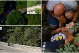 Šiurpu: dviračių lenktynių lyderis nukrito nuo tilto