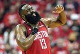 """Trigubą dublį atlikęs J.Hardenas atvedė """"Rockets"""" į antrąją pergalę atkrintamosiose"""