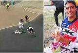 Į Tokijo olimpiadą pretendavęs dviratininkas po avarijos pasaulio taurės etape atsidūrė komoje