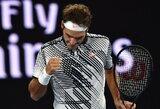 """Jokių vilčių varžovui nepalikęs R.Federeris tryliktą kartą karjeroje pateko į """"Australian Open"""" turnyro pusfinalį"""