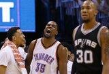 """Įspūdingai žaidęs K.Durantas atvedė """"Thunder"""" į antrą pergalę prieš """"Spurs"""""""