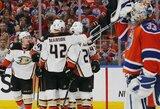 """Svečiuose sekasi geriau: """"Ducks"""" iškovojo pirmą pergalę Vakarų konferencijos pusfinalyje"""
