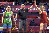 """K.Gaučaitė keturtaškiu """"malūnu"""" patiesė bulgarę, dvi mūsų imtynininkės pateko į Europos čempionato paguodos turnyrą"""