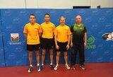 Lietuvos vyrų stalo teniso rinktinė Europos čempionato atrankoje šventė triuškinančią pergalę
