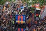 """Pamatykite: """"Barcelona"""" Ispanijos čempionų titulą atšventė gatvėse su gerbėjais"""
