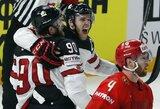 Kanadiečiai po epinio 9 įvarčių trilerio išmetė rusus iš pasaulio čempionato
