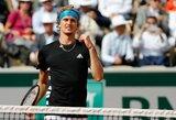 """Revanšą pasiekęs A.Zverevas """"Roland Garros"""" turnyre pakartojo geriausią karjeros rezultatą"""