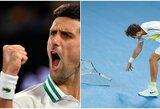 """Dominavęs N.Djokovičius nugalėjo raketę sulaužiusį D.Medvedevą ir 9-ą kartą karjeroje triumfavo """"Australian Open"""" turnyre"""