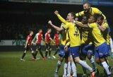 Lietuvos futbolininkai džiaugėsi pergalėmis užsienyje