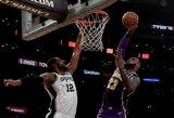 """L.Jameso vedama """"Lakers"""" pratęsė pergalių seriją"""