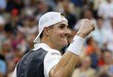 """J.Isneris tęsia geriausią karjeros sezoną ir įveikęs M.Raoničių prasibrovė į """"US Open"""" ketvirtfinalį"""