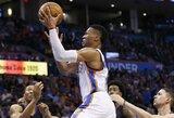 """Istorinį pasirodymą surengęs R.Westbrookas atvedė """"Thunder"""" į pergalę"""
