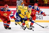 Beveik 14 tūkst. fanų palaikomi švedai nugalėjo Rusijos ledo ritulio rinktinę