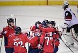 """J.Carlsono įvartis pratęsimo metu padovanojo """"Capitals"""" sunkią pergalę prieš NHL autsaiderius"""