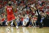 """S.Curry lemiamu metu neįdėjo laisvas, """"Rockets"""" laimėjo po pratęsimo"""