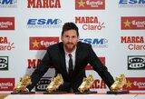 """L.Messi laimėjo ketvirtą """"Auksinį batelį"""" ir susilygino su C.Ronaldo"""