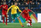 Pustuščiame stadione žaidę lietuviai pelnė pirmą įvartį Tautų lygoje, bet pralaimėjo rumunams