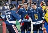 Suomijos ledo ritulininkai laimėjo Skandinavijos derbį, rusai trečiajame kėlinyje sutriuškino šveicarus