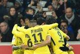"""Be traumuoto Neymaro rungtyniavusi PSG ekipa išvargo sunkią pergalę prieš """"Nice"""""""