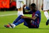 """""""Barcelona"""" rizika nepasiteisino: Čempionų lygoje pasirodęs O.Dembele dėl traumos nežais apie mėnesį"""