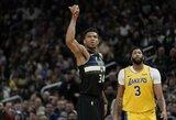 """Tritaškių rekordą pagerinęs G.Antetokounmpo paskandino """"Lakers"""""""
