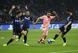 """Čempionų lyga: Milane krito du įvarčiai vos per keturias minutes, tačiau """"Inter"""" ir """"Barcelona"""" išsiskyrė taikiai"""
