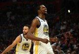 """50 taškų pelnęs ir rekordą pagerinęs K.Durantas atvedė """"Warriors"""" į Vakarų pusfinalį"""