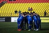"""LFF taurė: """"Palanga"""" po baudinių serijos iš tolimesnių kovų eliminavo """"Džiugą"""""""