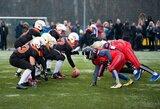 """Istorinėse amerikietiško futbolo rungtynėse Vilniaus """"Iron Wolves"""" neprilygo varžovams iš Kaliningrado"""