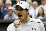 Skandalingąjį australą nugalėjęs A.Murray'us Vimbldone pateko į ketvirtfinalį, K.Nishikori sustabdė trauma