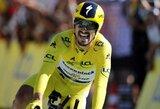 """Įspūdingą pasirodymą tęsiantis J.Alaphilippe'as laimėjo """"Tour de France"""" atskiro starto lenktynes"""