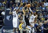 """Geriausias sezono rungtynes sužaidęs T.Parkeris atvedė """"Spurs"""" į pusfinalį"""