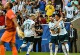 """Užtikrintai su Venesuela susitvarkiusi Argentina iškovojo bilietą  į """"Copa America"""" turnyro pusfinalį"""