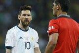 """""""Copa America"""" turnyre kaltinimais dėl korupcijos svaidęsis L.Messi atsipirko smulkia bausme: sumokės itin mažą baudą"""