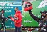 Po rekordinės pergalės – L.Hamiltoną sujaudinusi dovana iš M.Schumacherio rankų