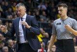 """Apie nesaldžią pergalę kalbėjęs Š.Jasikevičius: """"Nemalonu, kad du kartus per tris dienas mus apstumdė, apmušė, labiau norėjo laimėti ir žaidė geresnį krepšinį"""""""