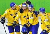 """Švedai """"nušlavė"""" JAV rinktinę ir antrus metus iš eilės žais pasaulio čempionato finale"""