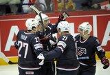 Intriguojančiame pasaulio ledo ritulio čempionato mače JAV rinktinė įveikė Kanadą